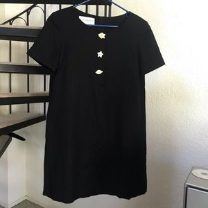 Vintage Evan Picone Seashell Black Shift Dress 4